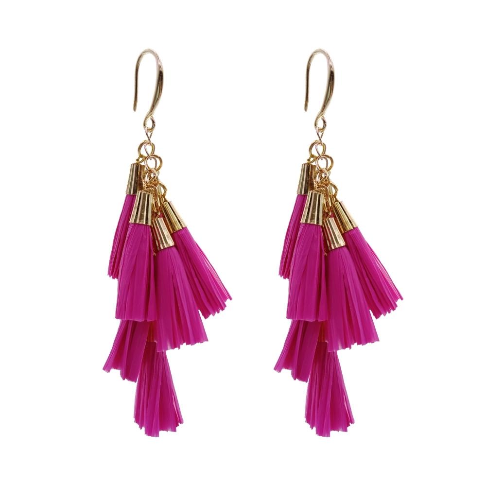 Daydreamer Tassel Earrings Fashion Raffia Earring Bright Color