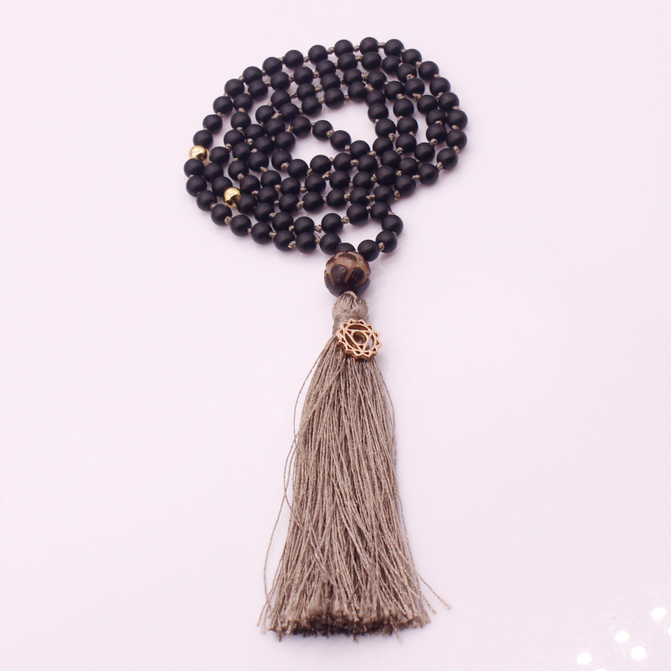 6mm Black Glass Beads Lotus Guru Bead Mala Yoga Necklace