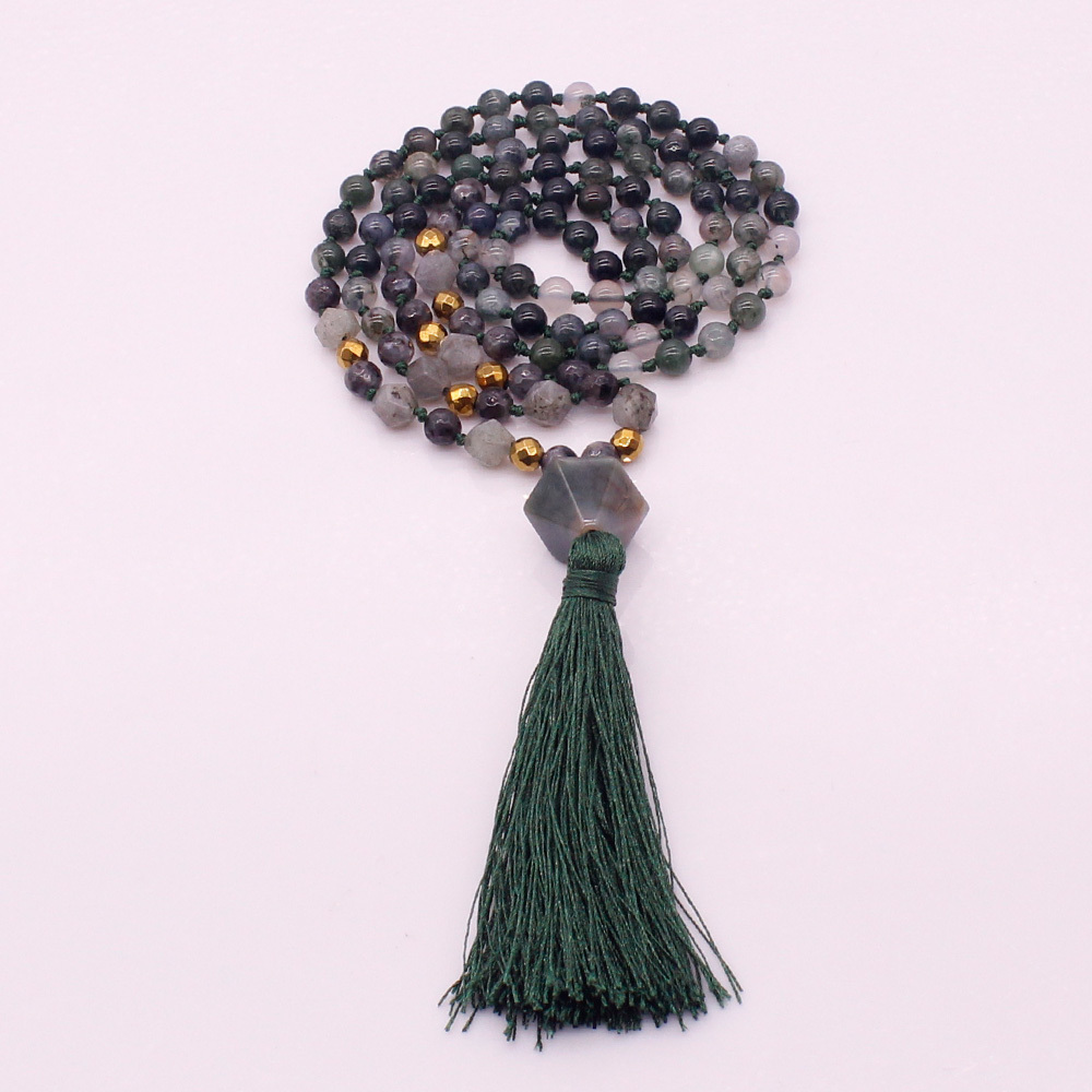6MM Grass Agate & African Turquoise Beads Mala Yoga Necklace