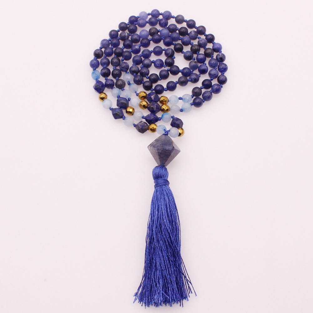 6MM Blue Sodalite & Section Lazuli Lapis Beads Mala Yoga Necklace