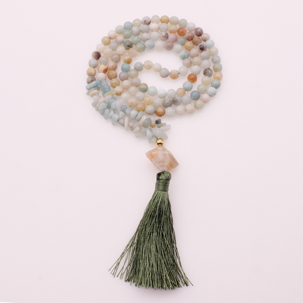 6MM Amazonite Beads & Chips Pendant Tassel Necklace
