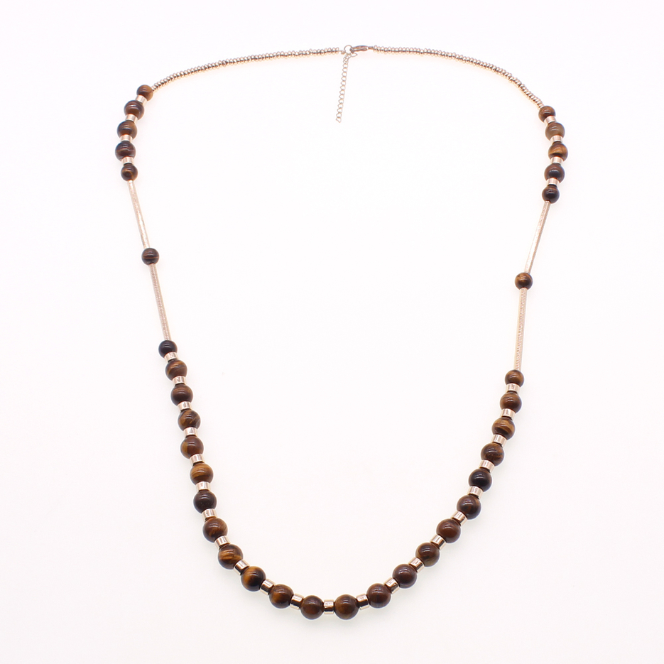 Handmade Gold Plated Accessories Tiger Eye Beads Necklace