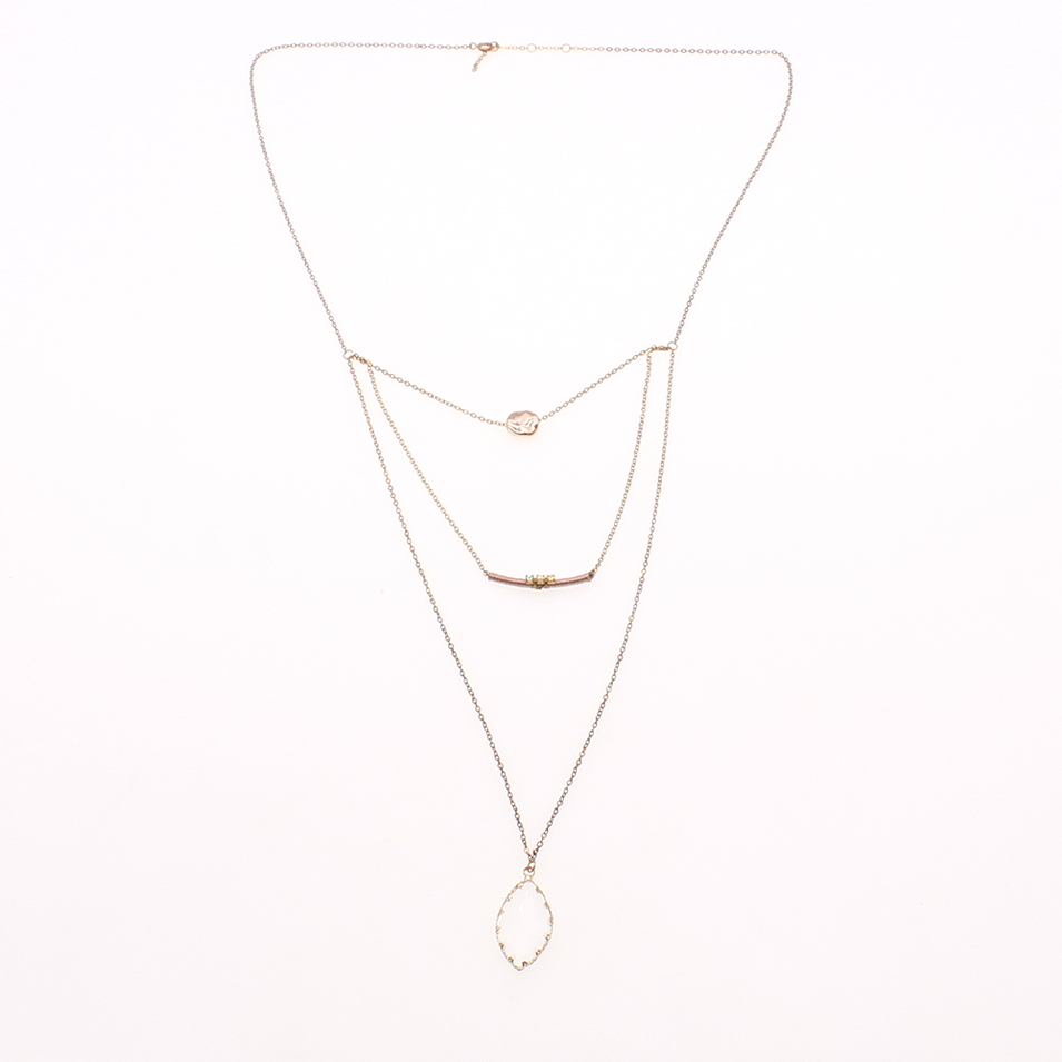 Gold Plated Miyuki Mutilayer Druzy Charms Necklace