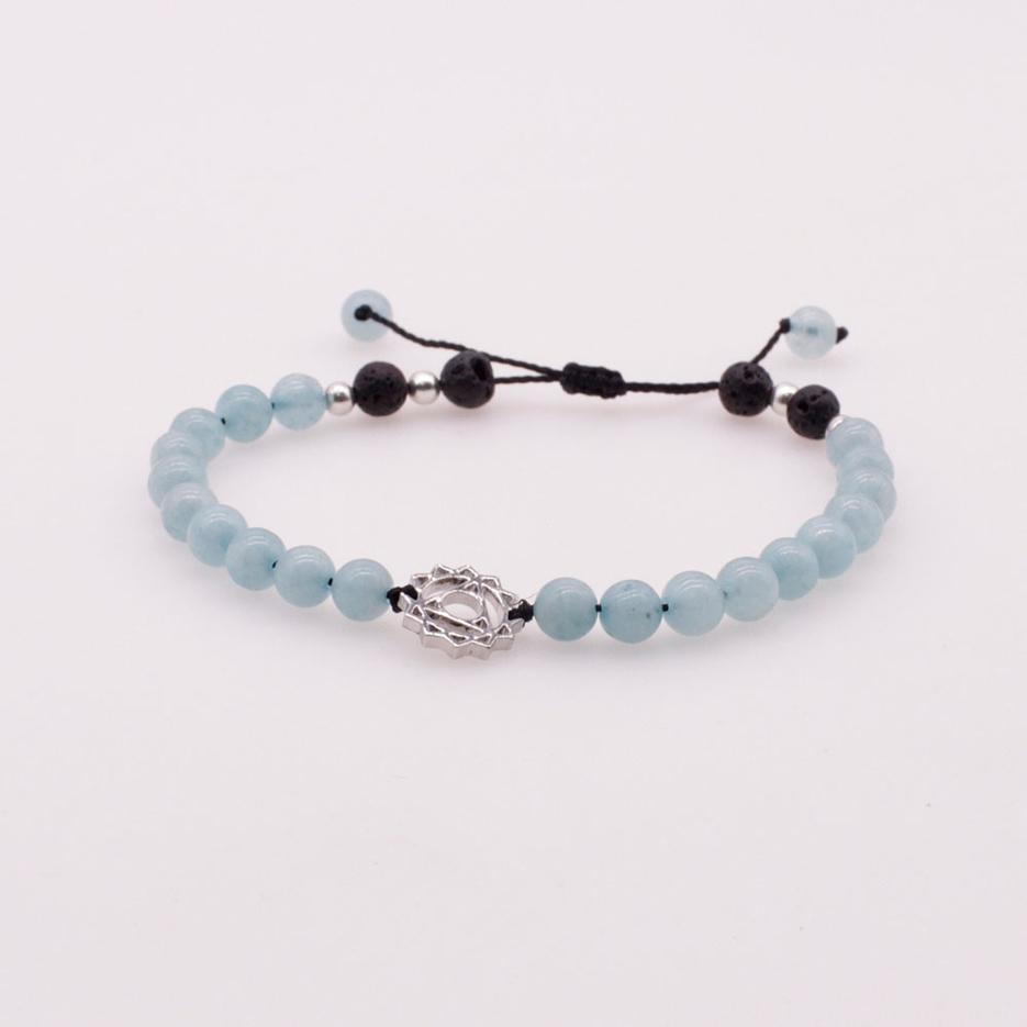 6mm Aquamarine and Lava Beads Chakra Charms Bracelet