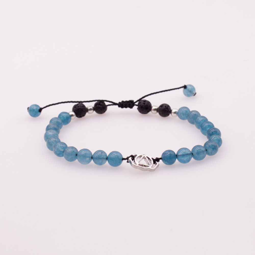 6MM Blue Colorful Jade Stone and Lava Beads Chakra Charms Bracelet