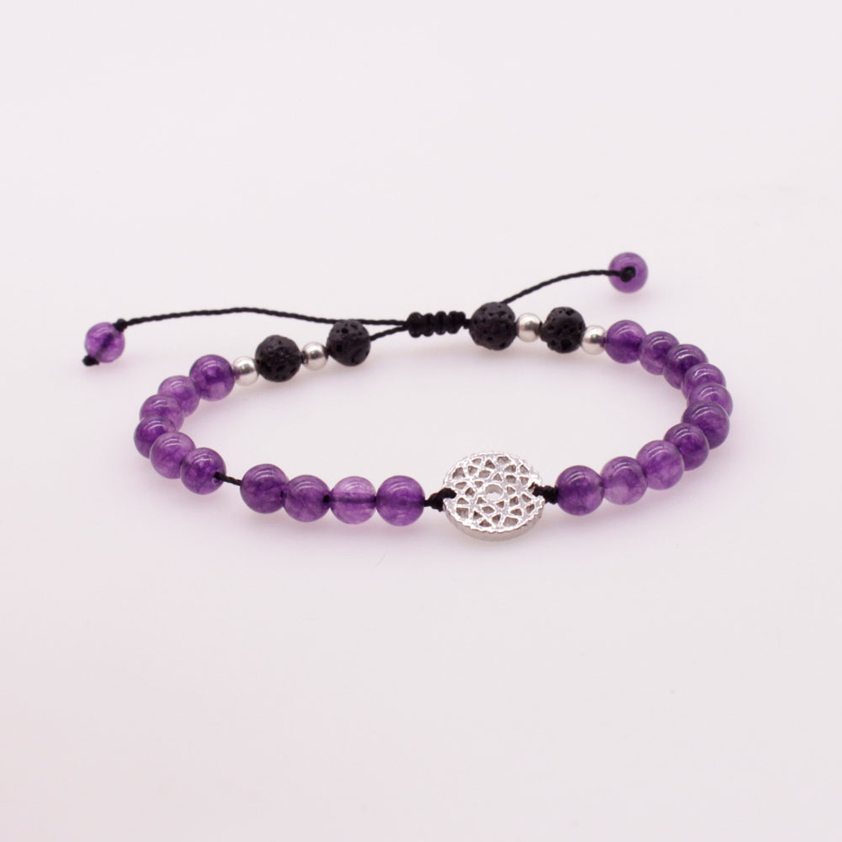 6MM Amethyst and Lava Beads Chakra Charms Bracelet