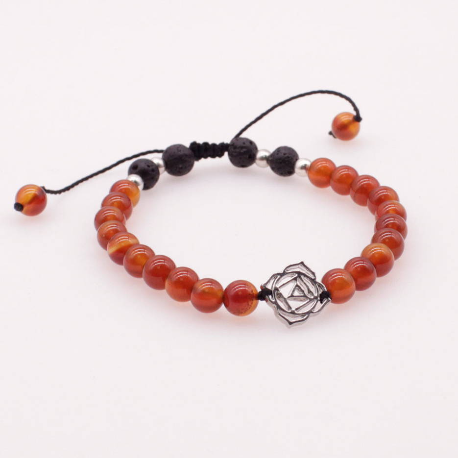 6MM Brown Jade Stone and Lava Beads Chakra Charms Bracelet