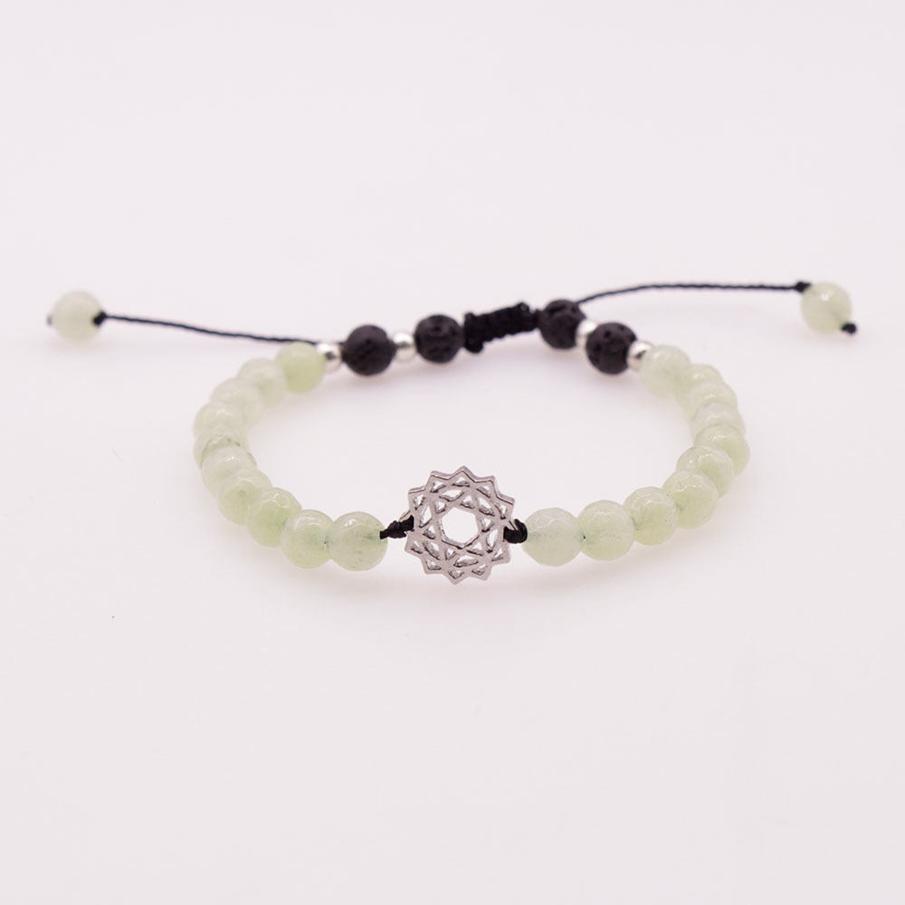 6MM Light Green Jade Stone and Lava Beads Chakra Charms Bracelet
