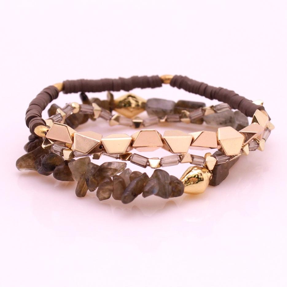 Stone Beads Hematite Plastic Pieces Mutilayer Bracelet Set