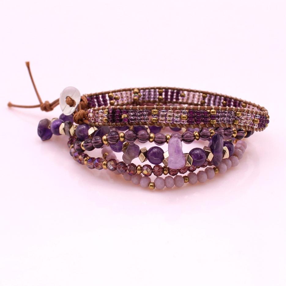 Amethyst Crystal Copper Beads Bracelet Set
