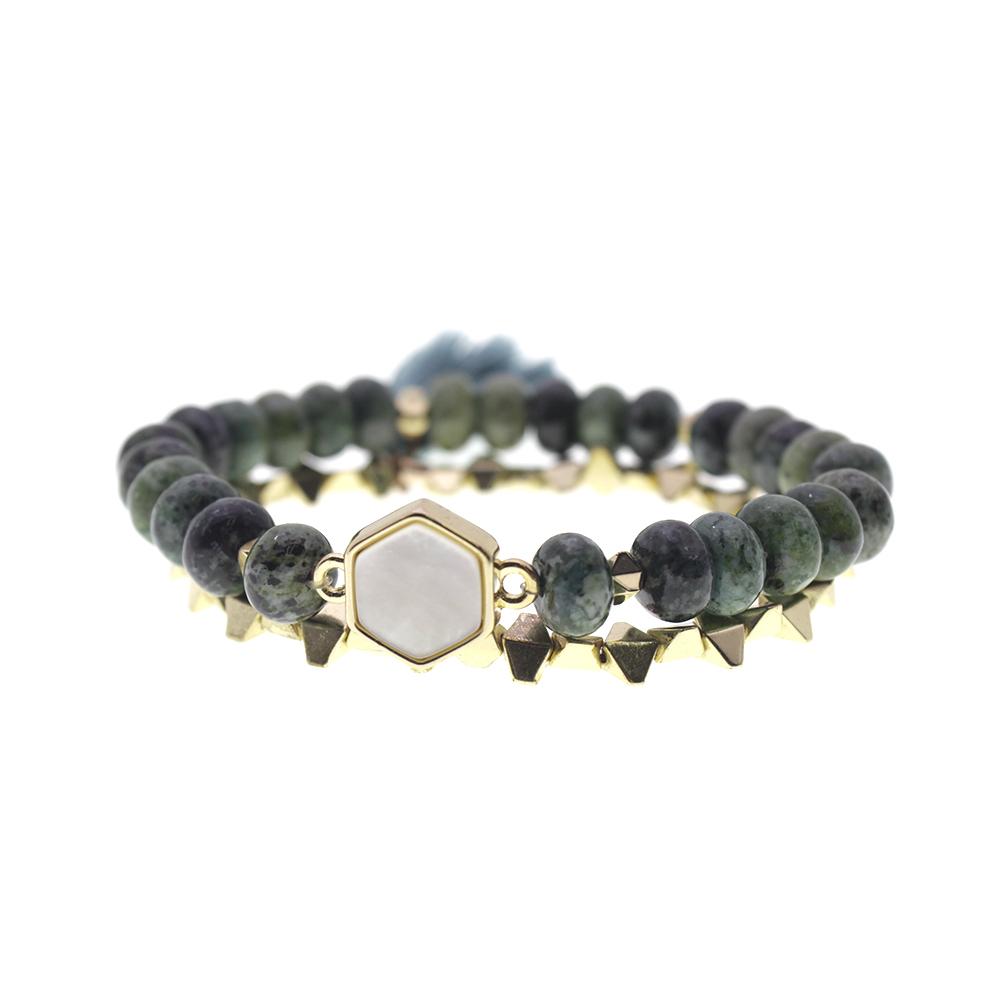 African Hematite Beads White Shell Bracelet