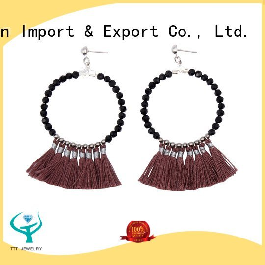 TTT Jewelry black tassel earrings handmade earrings women fantasy