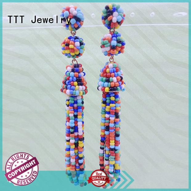 black tassel earrings beaded tassel tassel earrings handmade TTT Jewelry Brand