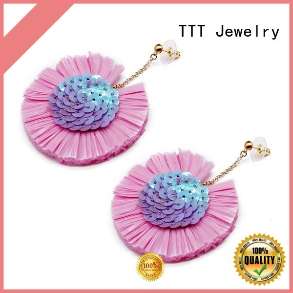 TTT Jewelry Brand bulk raffia handcrafted raffia earrings manufacture