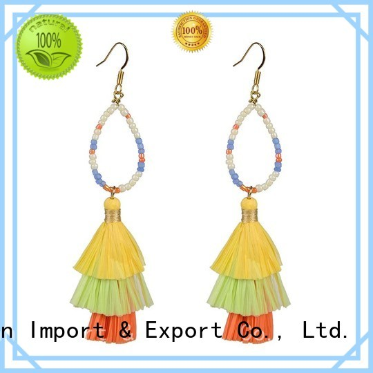 Custom fanshaped raffia earrings raffia TTT Jewelry