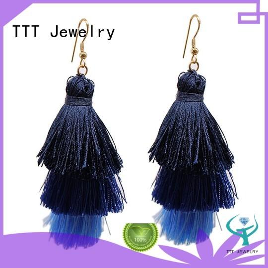 Hot black tassel earrings tassel TTT Jewelry Brand